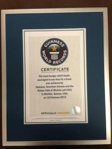 "Our Guinness World Record Certificate for ""The Most Hunger Relief Meals Packaged in One Hour by a Team""Photo Courtesy of FetchToto"